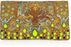 Matthew Williamson Crystal-embellished brocade suede clutch