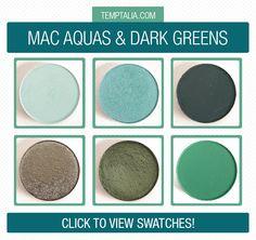 MAC Aquas & Dark Greens Eyeshadow Swatches