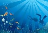 Scuba_diving : Scuba divers, sea  life. Fish, seaweeds, bubbles. Copy space for text. Vector illustration Stock Photo