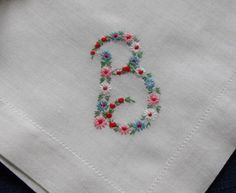 Monogram B Hankie Hanky Embroidered Flowers B monogrammed handkerchief MINT condition Bride Wedding Mom Canada