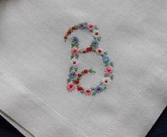 Monogram B Hankie Hanky Embroidered Flowers cute..
