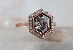 One of a Kind Black, Salt + Pepper Hexagon Diamond with Pavé Halo Setting :: Alexis Russell