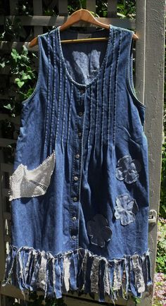 Hey, I found this really awesome Etsy listing at https://www.etsy.com/listing/293888627/fringey-frazzled-denim-jumper-denim-lace