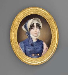 ca. 1811 -  A young lady, in blue dress with blue lacing across bodice, blue belt with gold link fastening, pink stole draped over her shoulders, lace cap with frill under chin and straw bonnet fastened with blue scarf signed and dated 'JD Engleheart Pinxit 1811 88 Newman Street London' John Cox Dillman Engleheart (British 1782/84 - 1862) Christie's Auctions