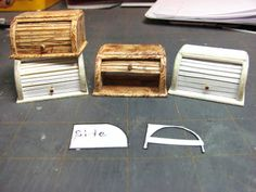 Dollhouse Miniature Furniture - Tutorials | 1 inch minis: How to make a doll house roll top bread box from mat board.