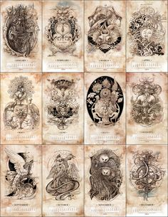 Bestiarium (Calendar 2014) by Irina Vinnik, via Behance