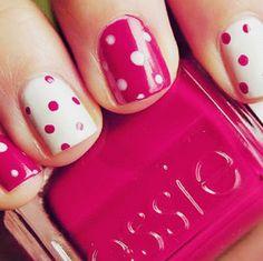 Pink & White Polka Dot Nails:)