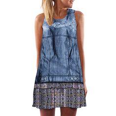 Weant Abiti donna abito vestito donna Gonna corta elegante abito blu Denim  stampa dress Gonna estate df7021931c6