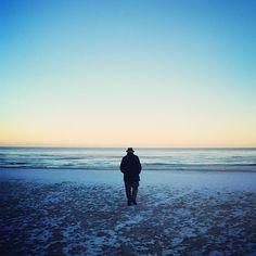{ an elderly gentleman on a snowy beach, twilight, new year's day } - @Karen Basta- #webstagram