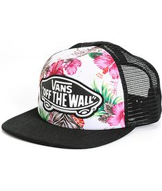 Add some Aloha to your daily look with this trucker hat that features a tropical floral print padded front panel finished with a Vans Off The Wall logo patch.