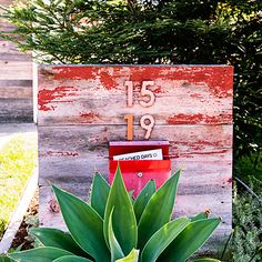 House Numbers and mailbox on rustic, painted wood paired with the vibrant green desert plant looks great! 18 ideas to steal from a rustic-modern ranch house - Sunset Magazine