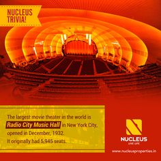 Nucleus Trivia! The largest movie theater in the world is Radio City Music Hall in New York City, opened in December, 1932. It originally had 5,945 seats. #Trivia #Kerala #Kochi #India #Kottayam #Amenities #Home #Construction #City #Lifestyle #Environment #Elegant #Building #Beauty #Beautiful #Exquisite #Interior #Design #Comfort #Luxury #Life #Living #Gorgeous #Style #Bayvue #Atmosphere #Apartment #Villa