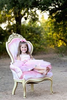 Rent My Dust Priscilla Pink Chair and Precious Little Girl Ballerina Birthday Photo Shoot by Angela MajerusPhotography