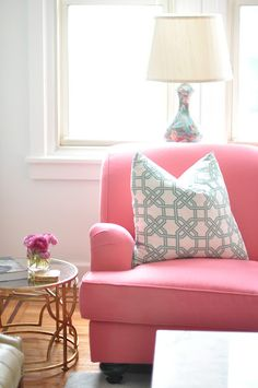 pink chair, pretty pillow