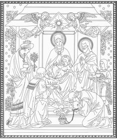 The Three Kings visit Baby Jesus coloring page. The Epiphany Jesus Coloring Pages, Cat Coloring Page, Coloring Pages For Boys, Animal Coloring Pages, Coloring Book Pages, Printable Coloring Pages, Christmas Activities, Christmas Crafts, Sunday School Coloring Pages