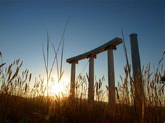 "The ISU pillars on top of Red Hill. AKA ""The Ruins."""