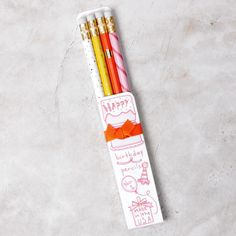Our Happy Birthday! pencil set designed and handmade by Karen Adams Designs is the perfect little gift. Not only are these perfectly pretty pencils stylish but