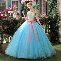 2015 Vintage Europe New Design Sexy Backless Halter Neck Sleeveless Floor Length Sky Blue Wedding Dress