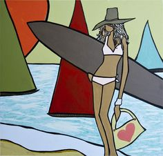 Leucadia resident Andy Davis has been making a living from his trademark surf art for over twenty years now, and his career has been a fruitful one. Female Surfers, Soul Surfer, Surfboard Art, Big Waves, Surf Style, Surf Girls, Ocean Art, Love Art, Strand