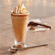 Caramel Macchiato Frappe, Ingredients 1 packet Folgers® Fresh Breaks™ Breakfast Blend Roasted Concentrated Coffee Or 1 packet Folgers® Fresh Breaks™ 100% Colombian Roasted Concentrated Coffee 1 tablespoon hot water 1/3 cup cold chocolate milk 2 tablespoons Smucker's® Caramel Flavored Topping, plus additional for garnish 1 tablespoon sugar 1/4 teaspoon vanilla extract 3/4 cup ice cubes Whipped cream