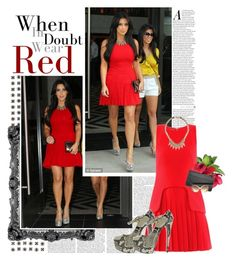 """Red Spotlight"" by lisalockhart ❤ liked on Polyvore featuring Nearly Natural, Alexander McQueen, Christian Louboutin, Jimmy Choo, Forever 21, Linda Farrow Luxe, women's clothing, women's fashion, women and female"