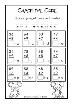 Addition With Regrouping - Crack the Code - and 26 other varied worksheets, color by number, word problems and moment