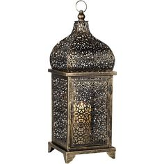 Antique Gold Glass Lantern Candle Holder - #X0081 ($40) ❤ liked on Polyvore