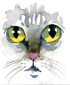 Cats eyes, watercolor by Kim Attwooll More