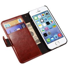 Lüks cüzdan flip case için iphone 5 s 5 se apple marka pu deri Kapak + Kart Tutucu Standı i Telefonu Çantası Coque Fundas Için iPhone5