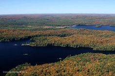 Provoking Lake in the foreground and Lake of Two Rivers in the background. The old Airfield near Mew Lake Campground is the opening in the trees in the center of the image. Photo taken September 25, 2013.  Fall aerial images of Algonquin Park's fall colour. www.algonquinpark.on.ca