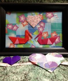 Origami Swans and Heart Art in 4x6 Frame Charming by LeNoirBleu