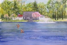 Hoopes Park, Auburn, NY, 12in X 18in watercolour painting on Moulin de Roy 140lb cold pressed paper by Ken Crawford.