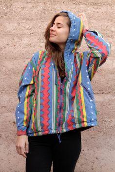 90s SLOUCHY ikat style parka SOUTHWEST oversize large FLEECE sweatshirt jacket. $68.00, via Etsy.