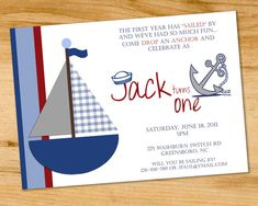 Sailboat- Nautical- Birthday Party Invitation - Digital File or Printed