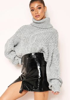31b2fd6cd0a Missyempire - Hana Grey Cable Knit Roll Neck Jumper Knitted Jumper Outfit,  Mohair Sweater,