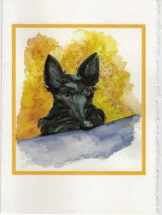 ACEO Print Scottie Dog /'Chasing Butterfly/' miniature print Scottish Terrier #307