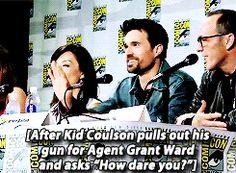 Brett Dalton during Marvel's Agents of S.H.I.E.L.D. panel at San Diego Comic Con 2014.