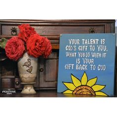 Your talent is God's gift to you. What you do with it is your gift back to God Wooden Signs With Sayings, Motivation Inspiration, Inspirational Quotes, Positivity, Hand Painted, God, Frame, Gifts, Life Coach Quotes