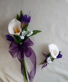 Calla Lilly Bouquet Purple Wedding Flowers with boutonniere faux bokay