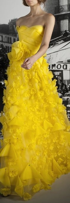 Love this yellow gown and the frilly feminine emblishments. Reem Acra Resort 2012 Im not sure if it comes in a different color. Yellow Gown, Mode Glamour, Dress Vestidos, Reem Acra, Strapless Dress Formal, Formal Dresses, Yellow Fashion, Color Fashion, Yellow Wedding