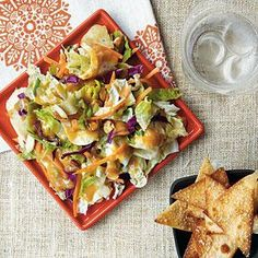 Crunchy Chinese Chicken Salad with Wonton Chips | MyRecipes.com