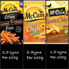 Arent these surprisingly low in syns? Well done McCains! astuce recette minceur girl world world recipes world snacks Asda Slimming World, Slimming World Syns List, Slimming World Survival, Slimming World Syn Values, Slimming World Treats, Slimming World Dinners, Slimming World Recipes Syn Free, Syn Free Food, Syn Free Snacks