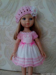 Комплект одежды для куклы Paola Reina и подобных. Платье и берет. Платье застегивается на 3 пуговицы. При покупке двух любых / 700р