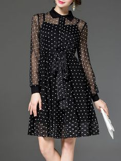 See-through Look Silk Shirt Dress with Cami