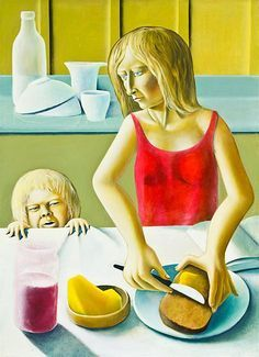 Michael Smither: Harry and Sarah at Breakfast with Jam Pot New Zealand Art, Diane Arbus, Figure Painting, Art Education, New Art, Portrait Photography, Contemporary Art, Artists, Kiwi
