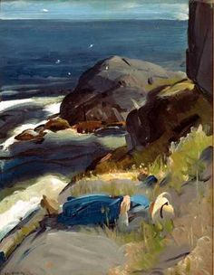 """Dreamer,"" George Wesley Bellows, 1913, Oil on panel, 19 1/2 x 15"", Private collection."