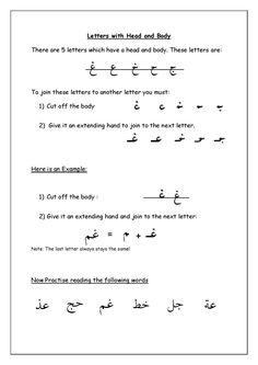 Arabic handwriting rules printable. Free pdf at www.arabicadventures.com