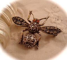 Vintage FLY BEE BUG Pin Germany Gilt Sterling door DaffodilsVintage, $18.00