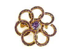 Rhinestone Brooch, Amethyst Purple, Flower Circles, Channel Set, Spring Jewelry, February Birthday, Vintage Pin by zephyrvintage on Etsy