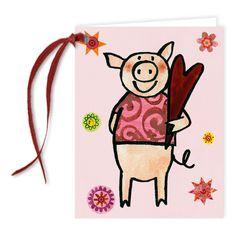 Geschenkkärtchen mit Band Schweine